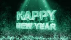 Happy new year with fire flame green Stock Footage
