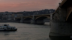 View of Margit Bridge and Danube River in central Budapest by evening, Hungary Stock Footage