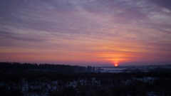 The sunset in cold winter day. red sky Stock Footage