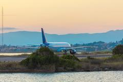 Airplane before take-off, evening scene, Corfu Kuvituskuvat