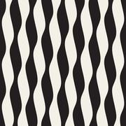 Vector Seamless Black and White Vertical Wavy Lines Pattern Stock Illustration