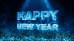 Happy new year  with fire flame Blue Stock Footage