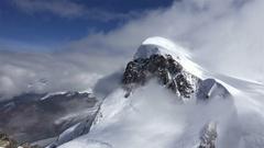 Aerial View of Mountain Peak in Switzerland. Stock Footage