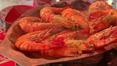 Closeup Red Shrimps Fried in Hot Oil on Large Pan Stock Footage
