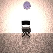 Chair under a clock, waiting room Stock Illustration
