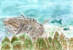 Wreck Boat Art Stock Illustration