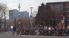 Many parked bicycles, TV tower, Berlin skyline, Germany Stock Footage