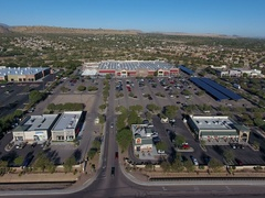Aerial view of a Walmart shopping center Stock Footage