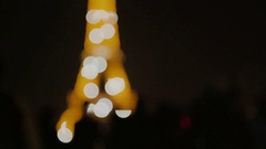 Eiffel Tower Tourist Twinkles Stock Footage