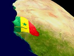 Senegal with flag on Earth Stock Illustration