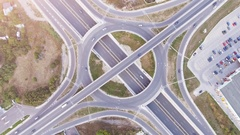 Elevated Road Junction And Interchange Overpass  City Transportation Aerial Stock Footage