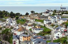 Luarca town cityscape, Spain. Stock Photos