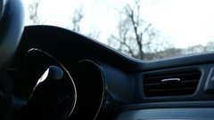 Women Driver Is Using Car's Windscreen Wiper Switch Stock Footage