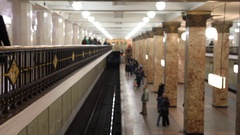 Top view of the crowd on the underground subway station, people come in Moscow Stock Footage