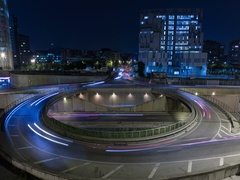 Cinemagraph of roundabout above highway.Time Lapse Stock Footage
