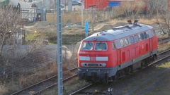 Parked locomotive on railroad train tracks, Deutsche Bahn, Berlin, Germany Stock Footage