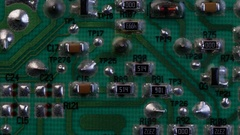 CIRCUIT BOARD IN A FAST DOLLY MOVE.  4K. Stock Footage
