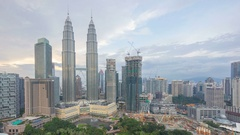 Sunset view of the Petronas Twin Towers, Kuala Lumpur City Centre Stock Footage