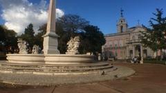 Famous Square In Lisbon, Palacio das Necessidades, Portugal Stock Footage