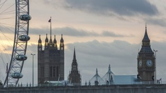 Day to Night Evening time-lapse, London eye, Big Ben Stock Footage