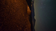 Astro Timelapse of Milky Way over Native American Rock Art -Vertical/Pan Left- Stock Footage