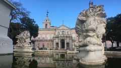 Beautiful Fountain In Lisbon, Necessidades Palace, Portugal Stock Footage