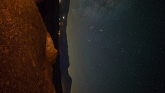 Astro Timelapse of Milky Way over Native American Rock Art -Vertical/Tilt Down- Stock Footage