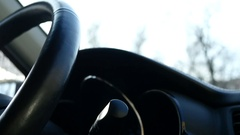 Women Driver Fingers Tapping On The Steering  Wheel Stock Footage