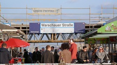 Warschauer train station entrance, many people walking, Berlin, Germany Stock Footage