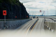 Transport tunnel road in Oslo city background Stock Photos