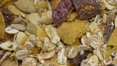 Granola in close up. Film clip with sliding motion. Stock Footage