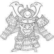 Samurai Japan Mask Stock Illustration