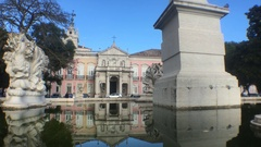 Lisbon Palace Reflected In Water Fountain, Portugal Stock Footage