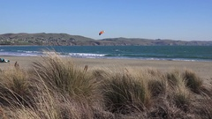Wind surfer as seen through blowing grass at Bodega Bay Stock Footage