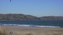 Wind surfer at Bodega Bay nearly deserted beach Stock Footage