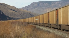Railroad, westbound coal train, mid train, AC 4400 motive power, surreal shot Stock Footage