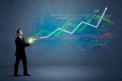 Business man holding stock-market Kuvituskuvat