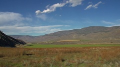 Agriculture, irrigated fields Thompson River valley, west of Kamloops, Stock Footage