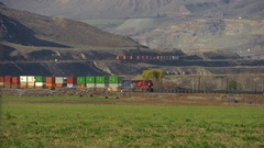 Railroad container train distant field, Walichin curve, long shot Stock Footage