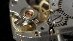 Watch mechanism, clockwork macro. 2 clips. Stock Footage