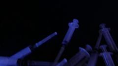 Lots of used syringes. 4K UHD Stock Footage