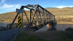 Walachin bridge, historic crossing over Thompson River west of Kamloops Stock Footage