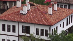 Red tiled roofs of old historic houses Stock Footage