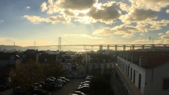 Amazing Sunset Over 25th of April Bridge, Lisbon Stock Footage