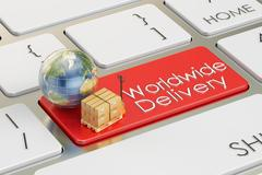 Worldwide Delivery concept on red keyboard button, 3D rendering Stock Illustration