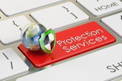 Protection Service concept on keyboard button, 3D rendering Stock Illustration
