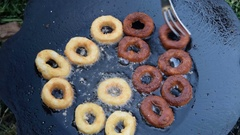 Prepared and finished squid rings Stock Footage