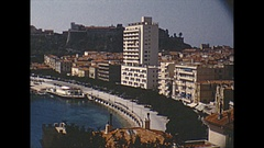 Vintage 16mm film, 1955 Nice b-roll city #1 Stock Footage