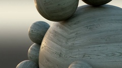Abstract wooden balls that rotates around each other closeup Stock Footage