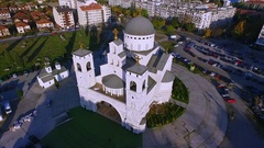 Drone Video - Cathedral of the Resurrection of Christ, Podgorica, Montenegro Stock Footage